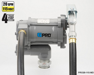 GPRO 115V 20 GPM Fuel Transfer Pump with Hose/Nozzle
